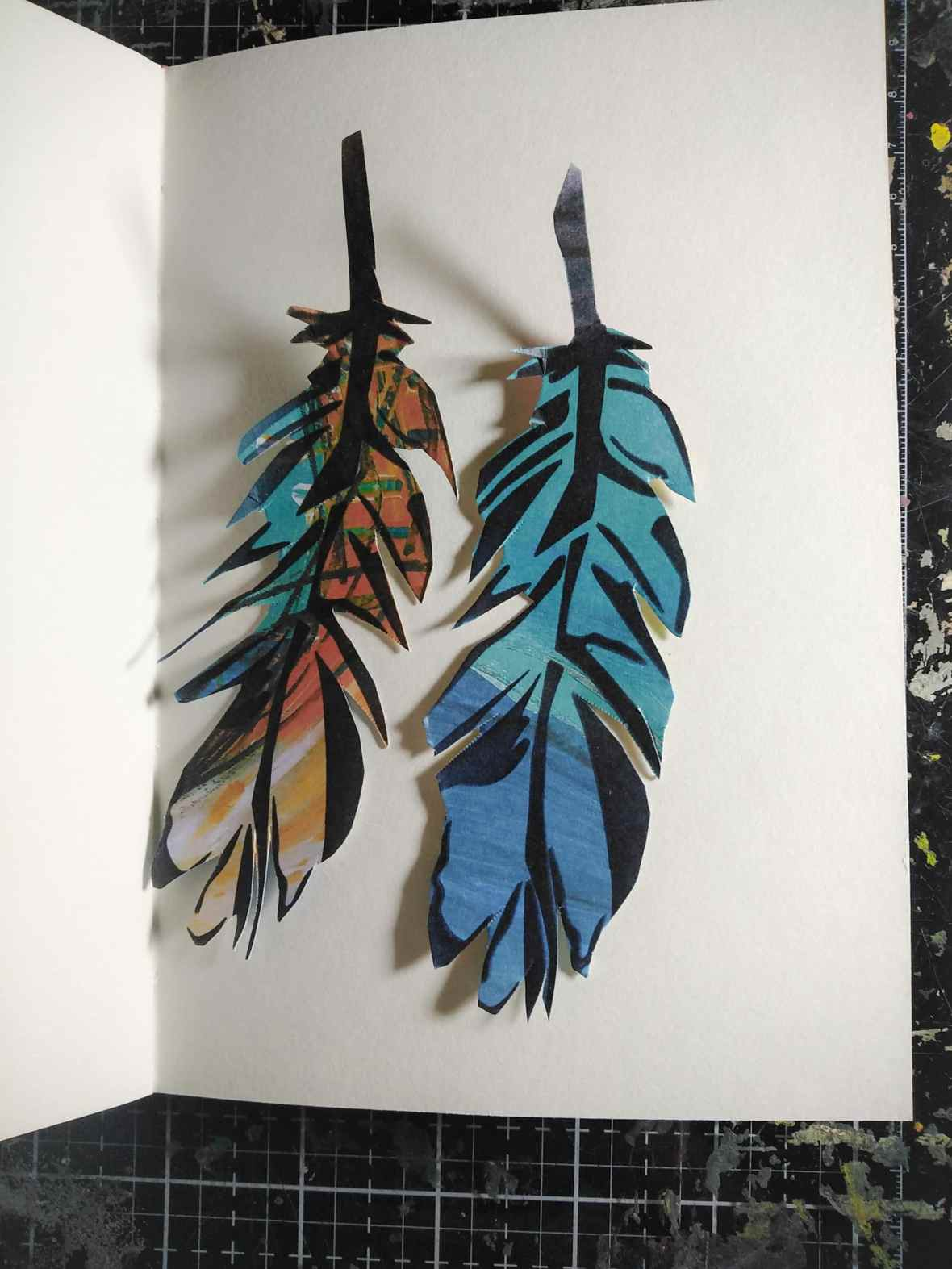 Feathers stencil, mixed media project