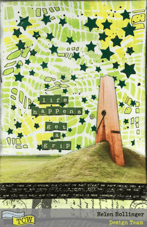 Finished art journal spread entitled Life Happens, Get a Grip using TCW products.