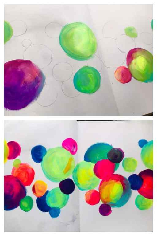 adding acrylic paint to the circles