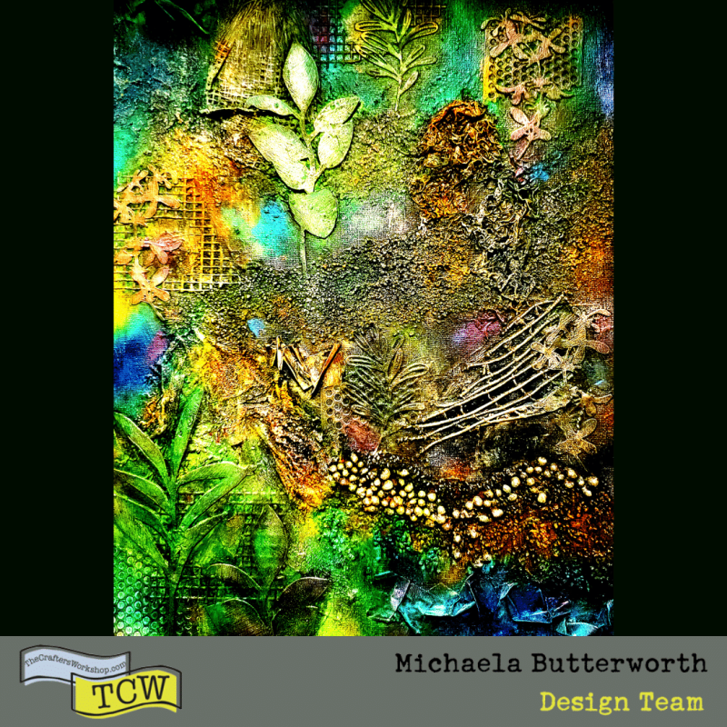 Hero shot of the Textured Landscape artwork with a grey and yellow Michaela Butterworth, Design Team, TCW banner across the bottom.