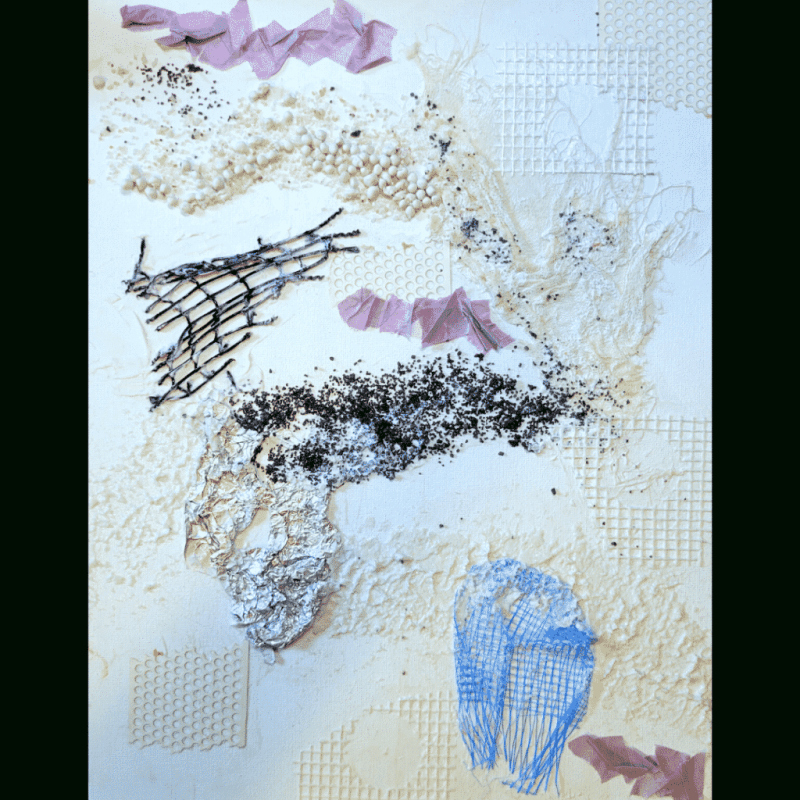Close up image showing the completed textural elements adhered to the board with clear gesso.