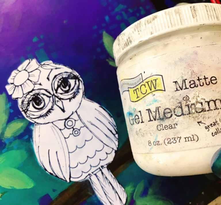 matte gel medium to apply owl picture