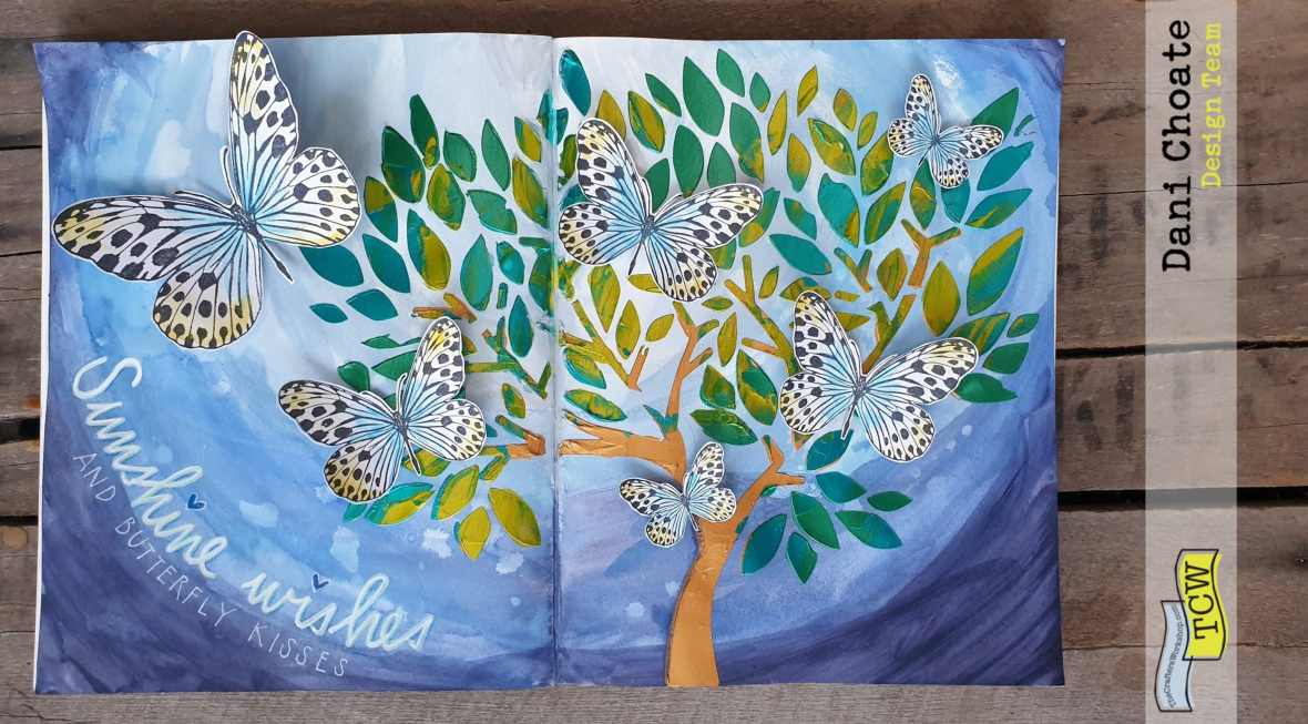 full page - butterflies in tree - TCW831 Faithful Tree with green stencil butters