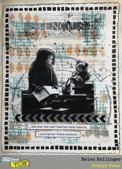I added some black ink splatters, my image, some washi tape, and a sentiment to finish this off.