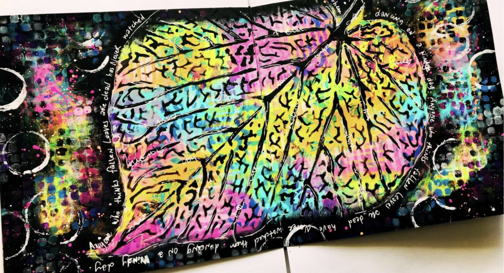 brightly colored leaf art journal page