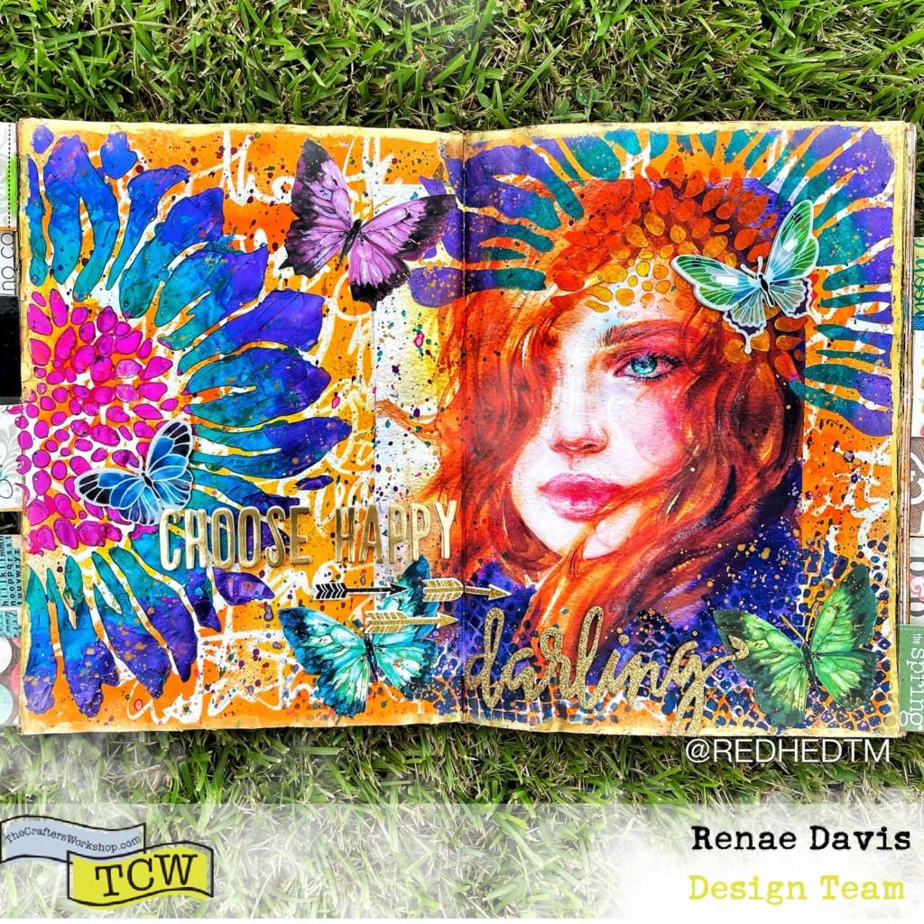 Choose Happy, Darling Mixed Media Art Journal by Renae Davis