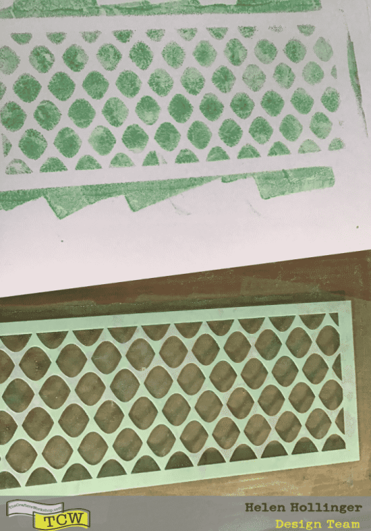 Leave the stencil on the gelli plate for the next step.