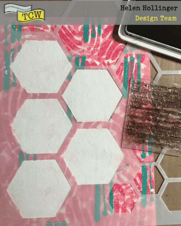 I taped off a section of hexagons using TCW324 Hexagon stencil, and sponged TCW9001 White Gesso through these. Once dried, I reapplied the stencil and used some archival ink and stamped some word text over the gesso.