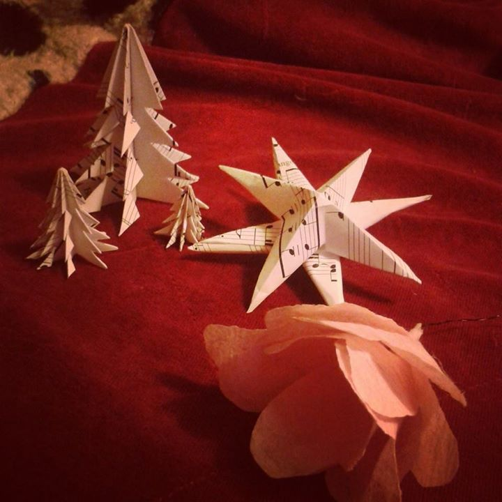 Christmas origami trees and star