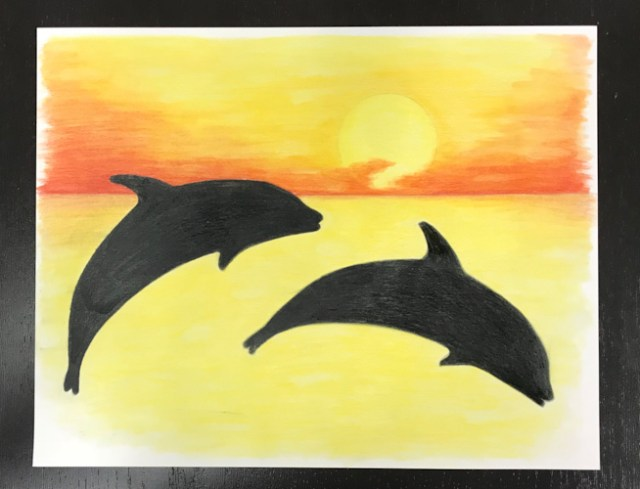 Colored pencil dolphin with baby oil