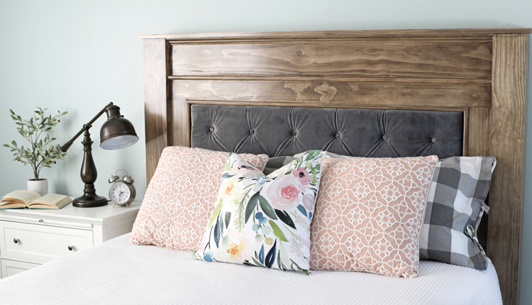 DIY Wood   Upholstered Headboard   thecraftpatchblog com Build a beautiful wood headboard with a luxurious velvet tufted upholstered  center using these free building plans