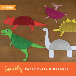 Paper plate dinosaurs with free printable templates