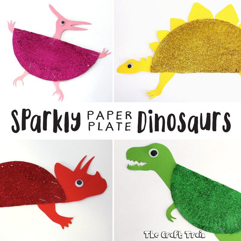 sparkly paper plate dinosaurs the craft train. Black Bedroom Furniture Sets. Home Design Ideas