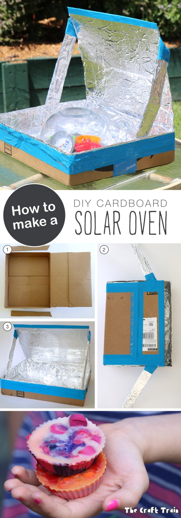 How to make a DIY Solar Oven from a repurposed cardboard box. This is a great experiment for kids to learn about solar energy and sustainability.