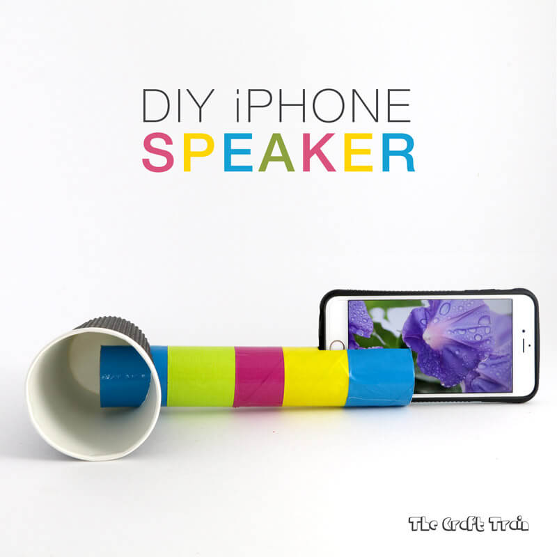 Make this simple DIY iphone speaker from a cardboard tube and paper cup
