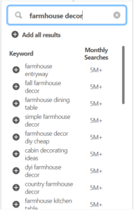 List of actual Pinterest Keywords people are searching millions of time each month