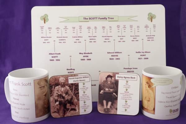 Family Tree table mats, mugs and coasters