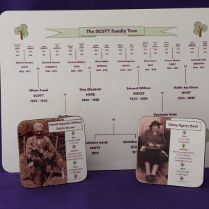 Family Tree table mats and matching coasters