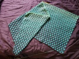 Trio blanket in progress.