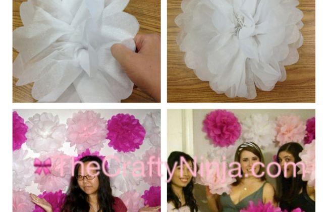 Pom Pom Tissue Flower Tutorial 4