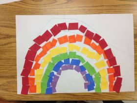 kids rainbow collage