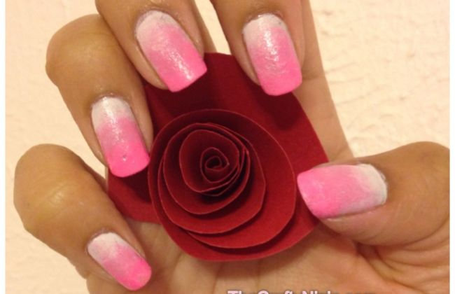 pink white ombre nails