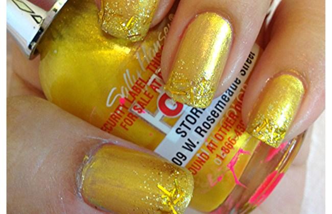 glitter gold nails