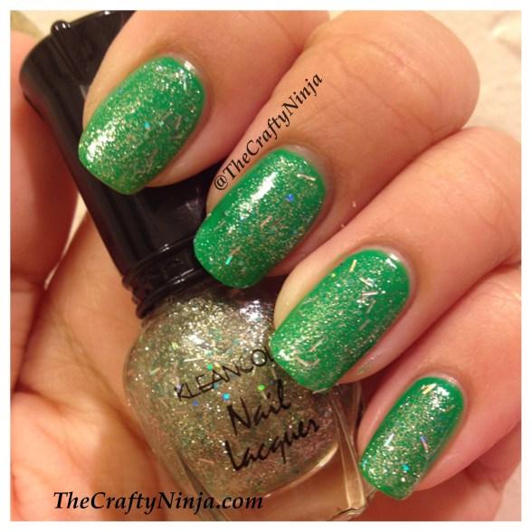glitter neon green nails