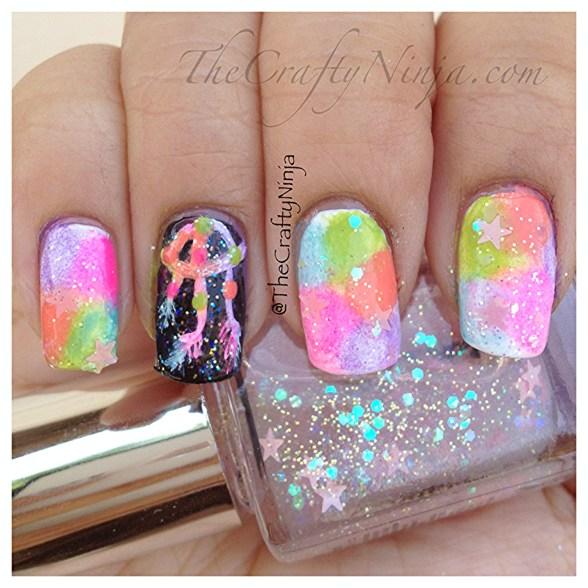 diy rainbow dreamcatcher nails
