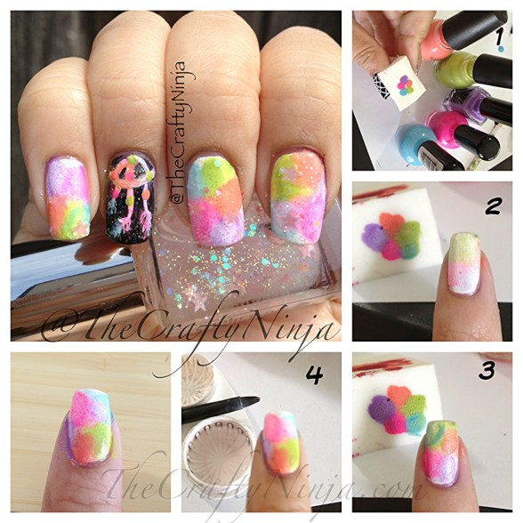 rainbow sponge nails