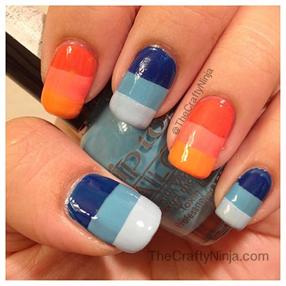blue orange nails