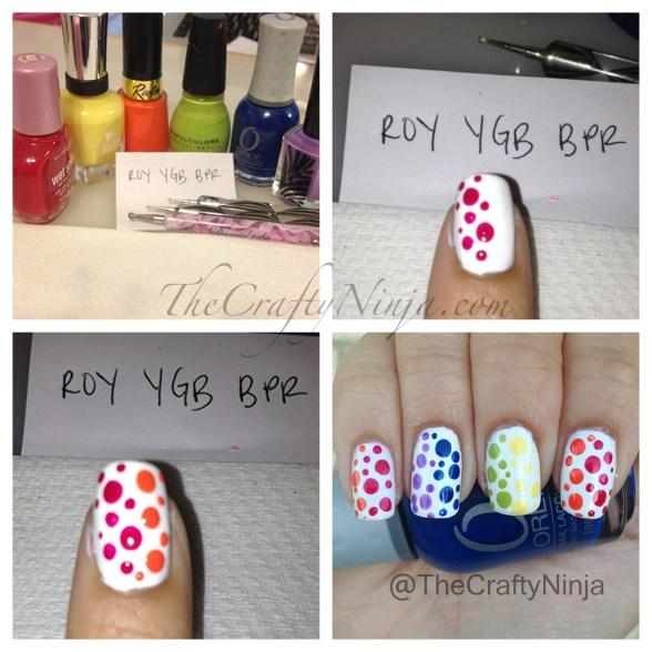 diy rainbow dot nails