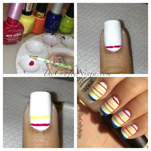 diy rainbow stripe nails