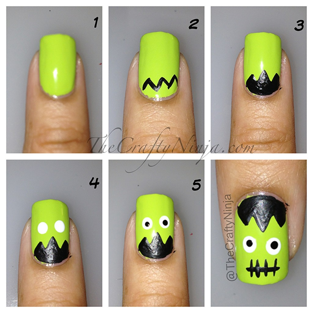 frankenstien nails diy 1024x1024 Halloween Nails DIY