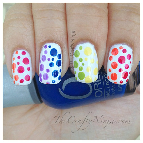 rainbow dots nails