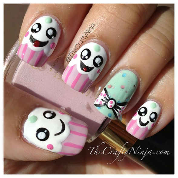 kawaii cupcake nails
