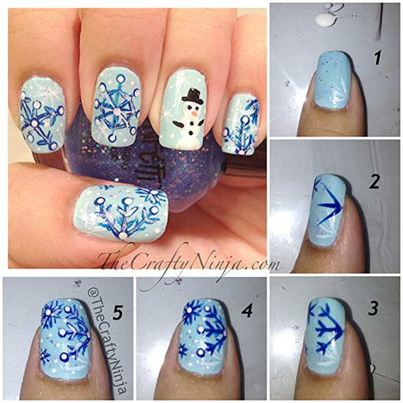 snowflake nails diy