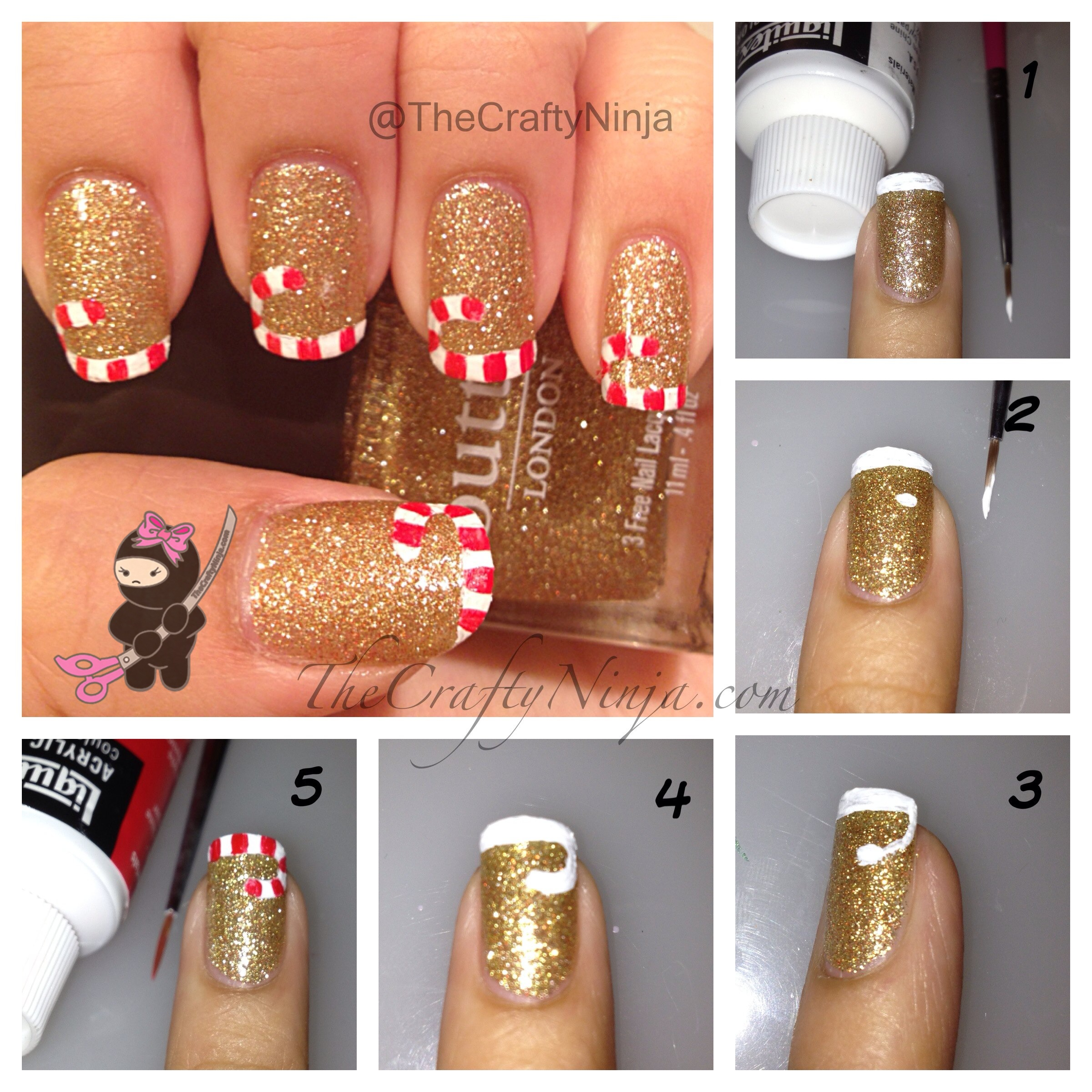 Candy cane french tip nails the crafty ninja candy cane nail diy solutioingenieria Images