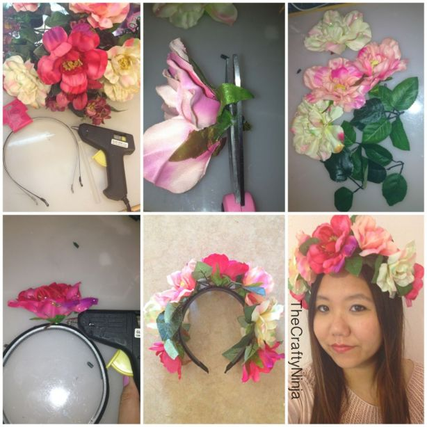 diy flower crown steps