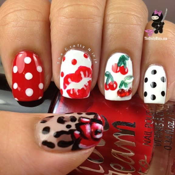 cherry leopard dot nails