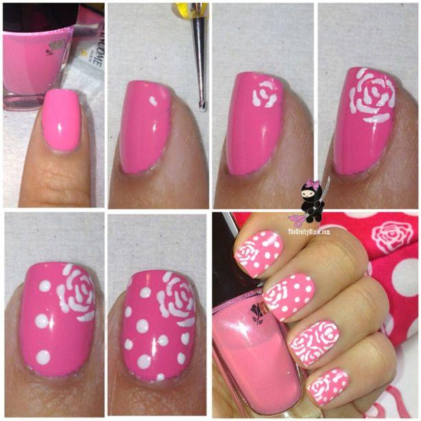diy flower dots nails