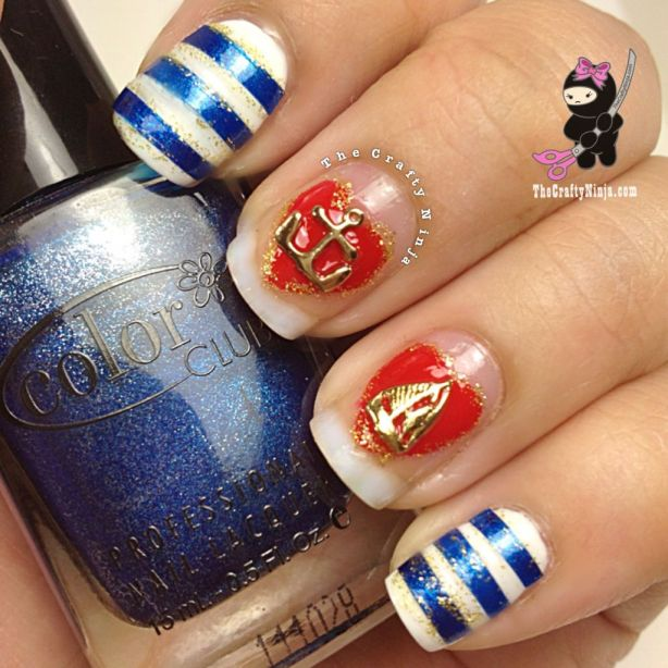nautical charm nails