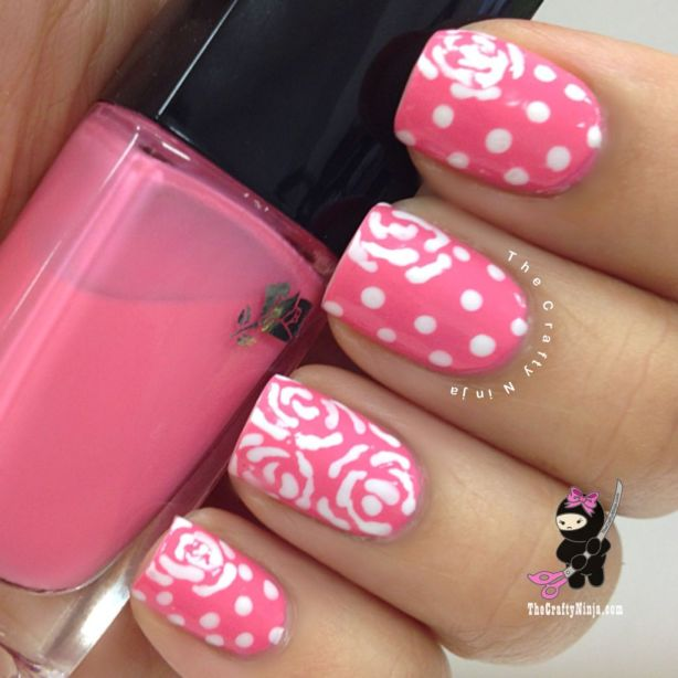 pink dot flower nails
