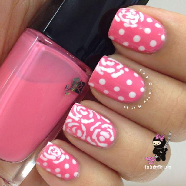 pink dot flower nails