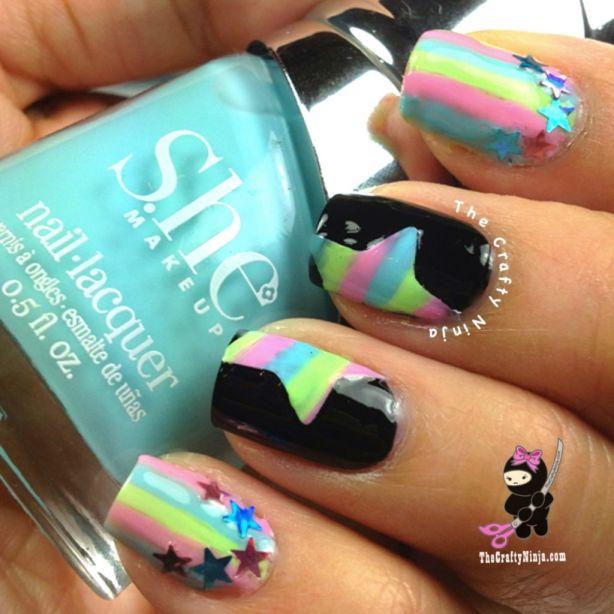 rainbow stars nail art