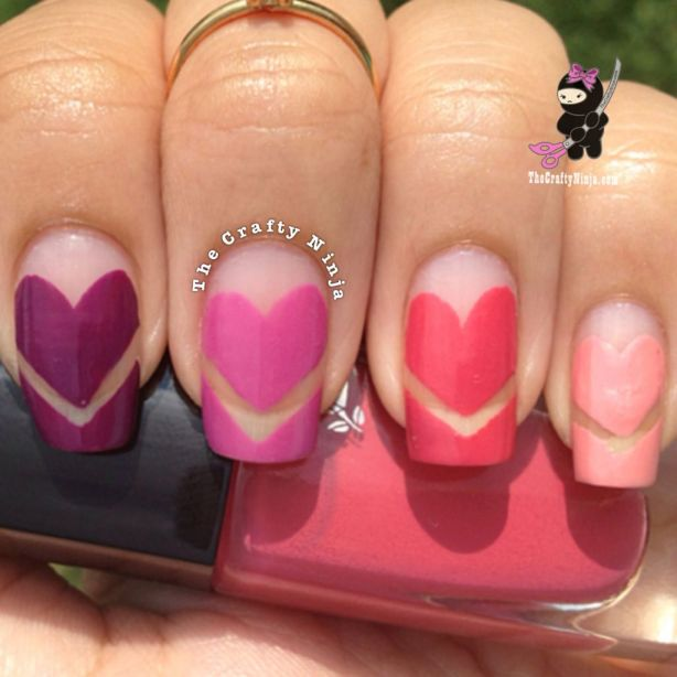 ombr chevron heart nails
