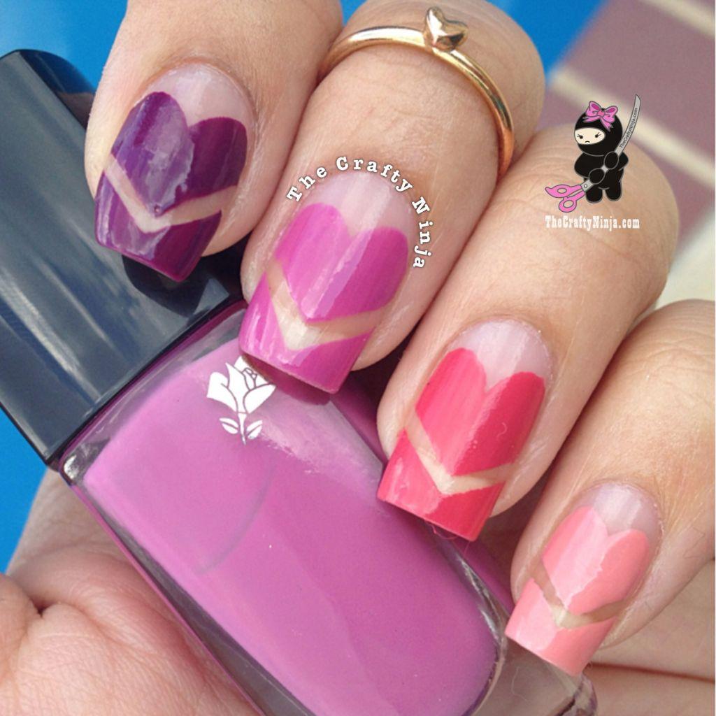 ombr chevron heart nails