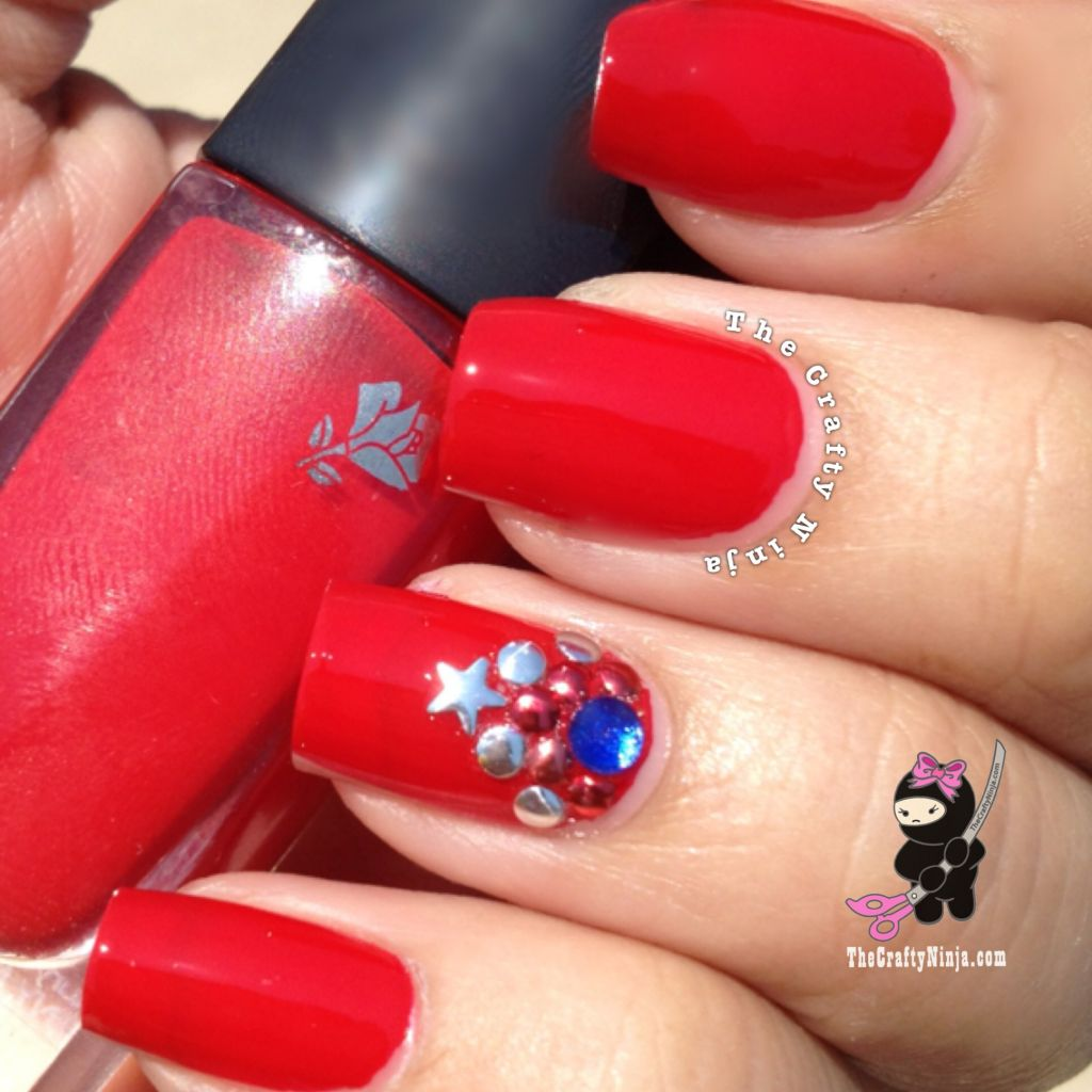 red bling independence day nails