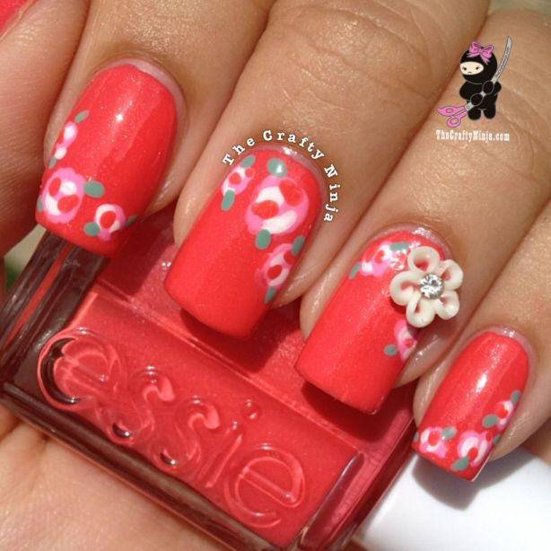 Coral Floral Nails