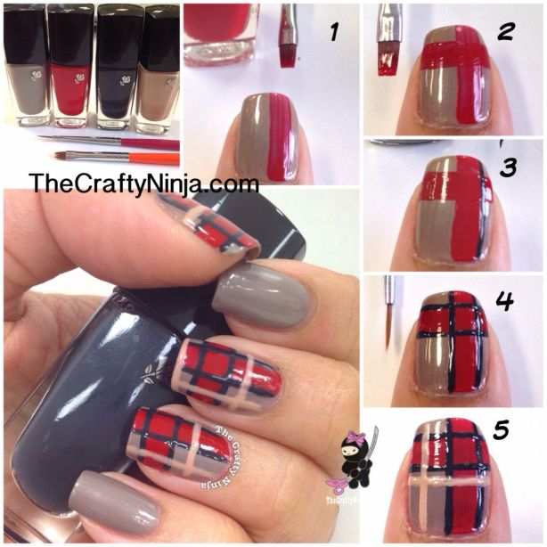 Diy Plaid Print Nails